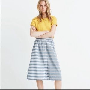 Madewell chambray striped buttoned midi skirt sz00